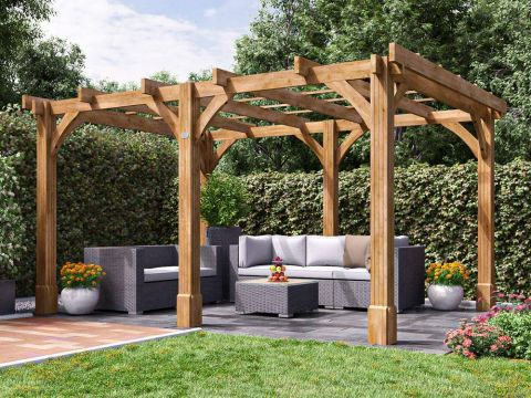 13x10 Atlas Wooden Garden Pergola from the Shed Factory Ireland