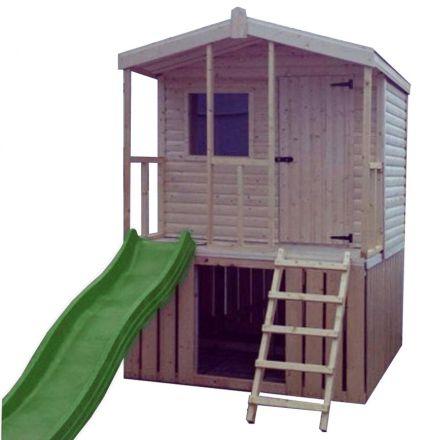 Chalet Cabin Playhouse with Veranda & slide