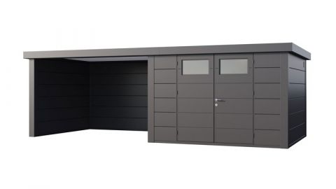 21X10 Telluria Eleganto Steel Shed with canopy Extension (LEFT) (Anthracite Example)
