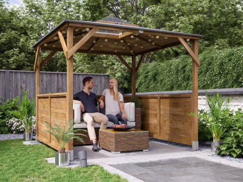 Erin Gazebo with Dome - Half Height Solid Wall
