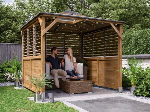 Erin Gazebo with Dome - Half Height Solid Wall, Half Louvre