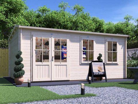 18x11 Modetro Garden Bar Log Cabin from Dunster House
