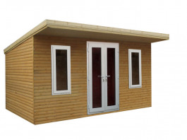 Pent garden office white