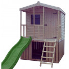 Chalet Cabin Playhouse with Veranda & slide