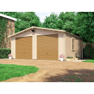 Wooden Car Double Garage with Metal Doors