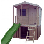 6ft x 6ft Chalet Cabin Kids Playhouse with veranda & slide