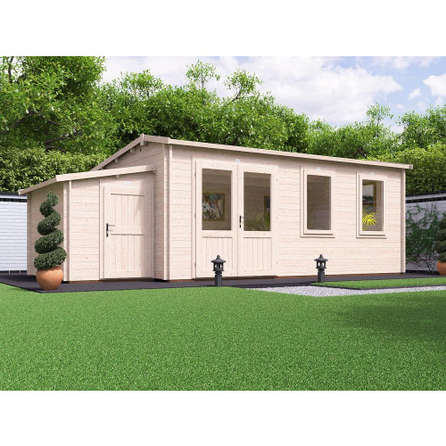 23x12 PremiumPlus Modetro Log Cabin (45mm) with Sidestore