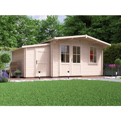18x10 Rhine Log Cabin (45mm) with Sidestore