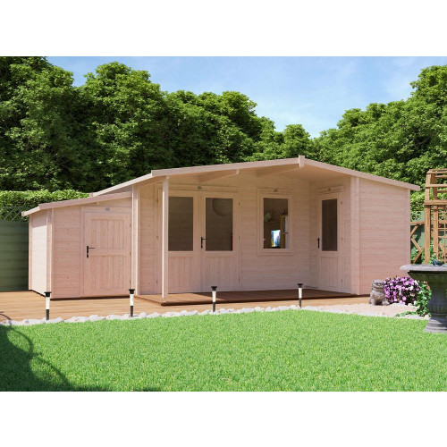 21x14 TeddySnug Multi Room Log Cabin (45mm) with Sidestore
