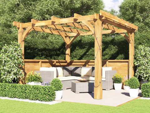 10x10 Atlas Glazed Wall Pergola