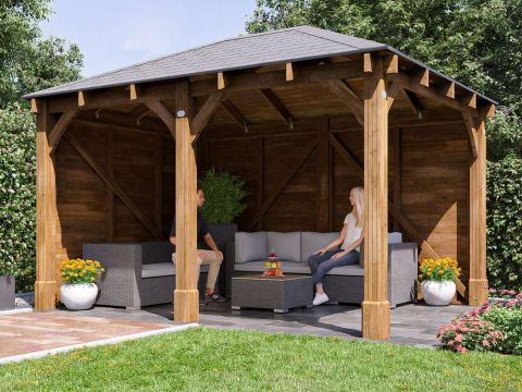 Atlas chunky walled enclosed gazebo from the Shed Factory Ireland