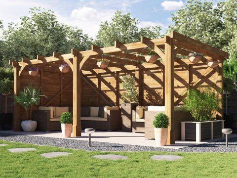 20x10 Atlas Solid Wall Wooden Pergola