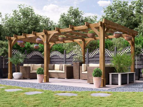 20x10 Atlas Wooden Pergola