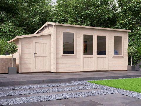 Premium Lantera Log Cabin with Sidestore
